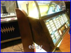 1952 Seeburg C 100 jukebox 45 RPM selections vinyl refurbished Burl wood &chrome