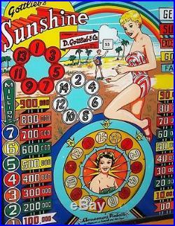1958 Gottlieb Sunshine Woodrail Pinball Machine withBackbox Animation & NEW BKGLS