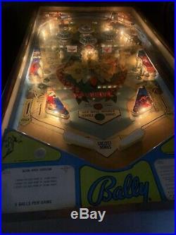 1975 Bally BOW & ARROW Beautiful Original BackglassVery Nice