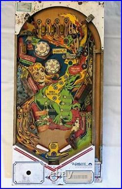 1978 Gottlieb's DRAGON Vintage Pinball Playfield Machine back drop art & wiring