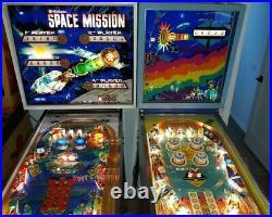 2 Space Theme Arcade EM Pinball Machines, Space Mission & On Beam Retro Vintage