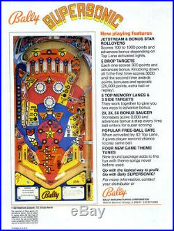 Bally 1979 Supersonic Pinball Machine. Supersonic Flight that holds records