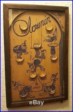 Vintage 1930's CLOWNIN' Wooden Pinball Arcade Game St Louis, Missouri