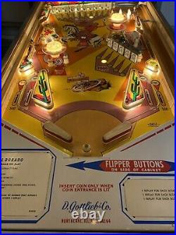 Vintage Gottlieb El Dorado Pinball Arcade Machine Western Cowboy Themed Art